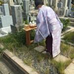 石屋墓園で墓じまい、宮司さんにお祓いをしていただきました。