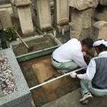 東灘区岡本、光明寺墓地で基礎コンクリート工事しました。