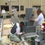 法園寺境内墓地にて新規墓石工事中