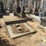 魚崎墓地にて基礎工事完了しました