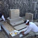 芦屋霊園にて本御影石の洋型墓石完成