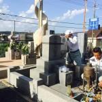 三木市、村墓地で竿石、追加彫りさせていただきました。