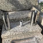 森共同墓地にてステンレスローソク立て設置