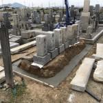 先祖墓のリフォーム施工。 基礎工事が大切。