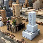 神戸の石屋墓園にてお墓のリフォーム工事。お墓のおまとめと雑草対策でお参りしやすい墓地になりました。