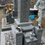 和歌山県有田市の地域墓地に大島石の7寸神戸型の和型墓石が完成しました。水鉢部分にステンレス皿をセットしてお掃除も簡単に。
